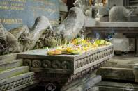 Hindu Offerings at a Temple in Ubud, Bali. Offerings are called banten in Balinese. It is possible that the word comes from the Sanskrit word bali, which means tribute, obligation or gift.